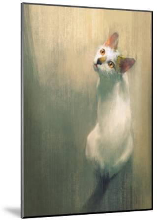Young White Cat Looking Up,Digital Painting-Tithi Luadthong-Mounted Art Print