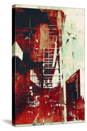 Abstract Architecture with Red Grunge Texture,Illustration Digital Art-Tithi Luadthong-Stretched Canvas Print