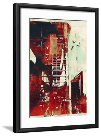 Abstract Architecture with Red Grunge Texture,Illustration Digital Art-Tithi Luadthong-Framed Art Print