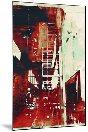 Abstract Architecture with Red Grunge Texture,Illustration Digital Art-Tithi Luadthong-Mounted Art Print