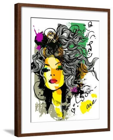 Fashion Print Sketch with a Model-A Frants-Framed Art Print
