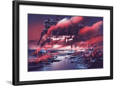 Sci-Fi Scene of Industrial City,Illustration Painting-Tithi Luadthong-Framed Art Print