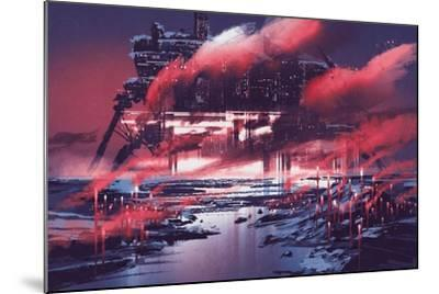 Sci-Fi Scene of Industrial City,Illustration Painting-Tithi Luadthong-Mounted Art Print