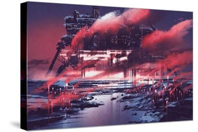 Sci-Fi Scene of Industrial City,Illustration Painting-Tithi Luadthong-Stretched Canvas Print