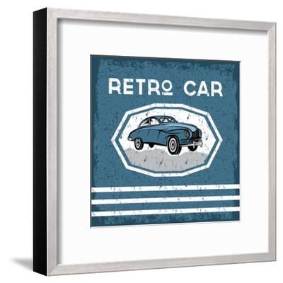 Retro Car Old Vintage Grunge Poster- UVAconcept-Framed Art Print