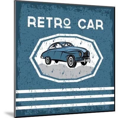 Retro Car Old Vintage Grunge Poster- UVAconcept-Mounted Art Print