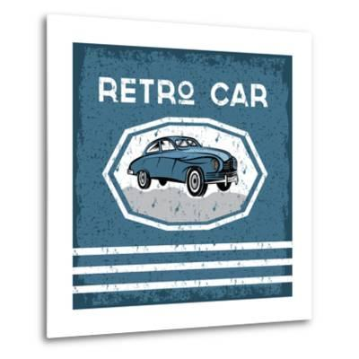 Retro Car Old Vintage Grunge Poster- UVAconcept-Metal Print