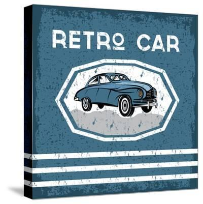 Retro Car Old Vintage Grunge Poster- UVAconcept-Stretched Canvas Print