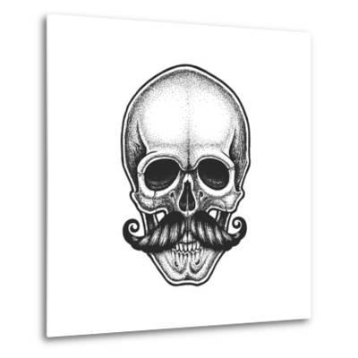 Dotwork Styled Skull with Moustache. Hand Drawn Illustration. T-Shirt Design.- Mr_Bachinsky-Metal Print