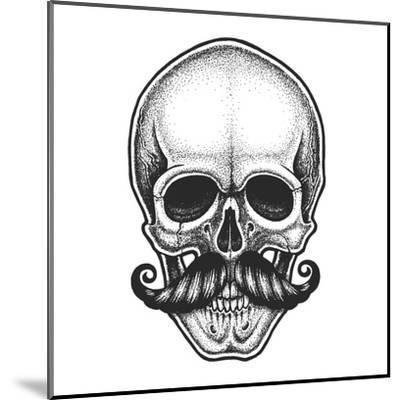 Dotwork Styled Skull with Moustache. Hand Drawn Illustration. T-Shirt Design.- Mr_Bachinsky-Mounted Art Print
