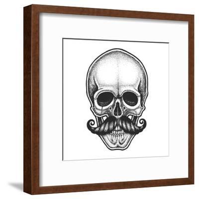 Dotwork Styled Skull with Moustache. Hand Drawn Illustration. T-Shirt Design.- Mr_Bachinsky-Framed Art Print