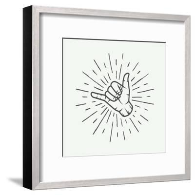 Vintage Surfing Shaka Hand with Retro Sunburst. Graphic Vector Illustration.-AkimD-Framed Art Print