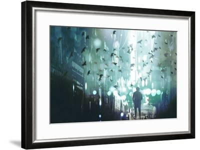 Man Walking in Abandoned City Alley with Flock of Birds,Illustration Painting-Tithi Luadthong-Framed Art Print