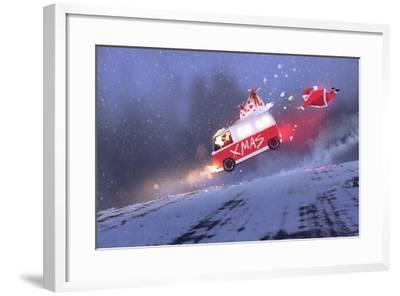 Funny Scene of Santa Claus and the Van with Christmas Gift Bags Jumping on Winter Road,Illustration-Tithi Luadthong-Framed Art Print