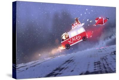 Funny Scene of Santa Claus and the Van with Christmas Gift Bags Jumping on Winter Road,Illustration-Tithi Luadthong-Stretched Canvas Print