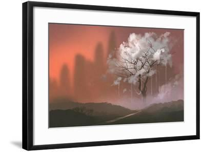 Cloud Tree,Path to Heaven,Illustration Painting-Tithi Luadthong-Framed Art Print