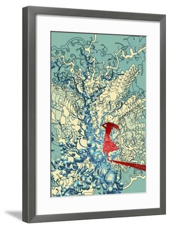 Red Woman in Abstract Graphic,Illustration Digital Painting-Tithi Luadthong-Framed Art Print
