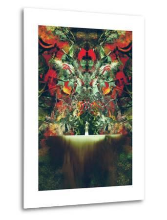 Woman in White Standing in Front of Fantasy Gate,Illustration Painting-Tithi Luadthong-Metal Print
