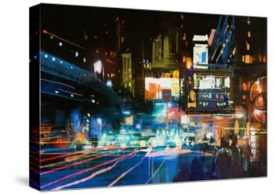 Painting of Modern Urban City at Night,Illustration-Tithi Luadthong-Stretched Canvas Print