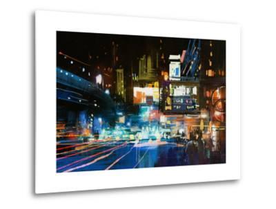 Painting of Modern Urban City at Night,Illustration-Tithi Luadthong-Metal Print