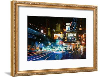 Painting of Modern Urban City at Night,Illustration-Tithi Luadthong-Framed Art Print