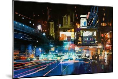 Painting of Modern Urban City at Night,Illustration-Tithi Luadthong-Mounted Art Print