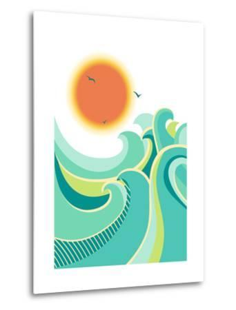 Nature Seascape Poster Background with Sunlight.Vector Color Illustration-Tancha-Metal Print