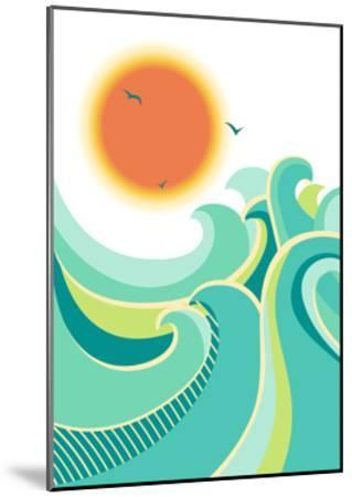 Nature Seascape Poster Background with Sunlight.Vector Color Illustration-Tancha-Mounted Art Print