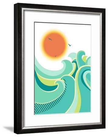 Nature Seascape Poster Background with Sunlight.Vector Color Illustration-Tancha-Framed Art Print