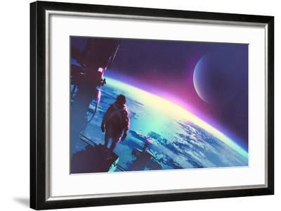 Sci-Fi Concept of the Man Looking at a Surface of the Earth from a Space,Illustration Painting-Tithi Luadthong-Framed Art Print