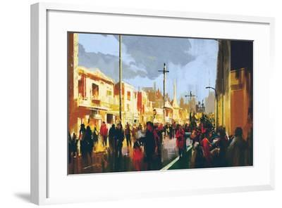 Beautiful Painting of People in a City Park,Illustration-Tithi Luadthong-Framed Art Print