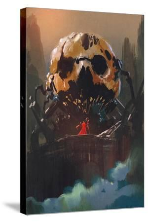 Illustration Painting of Villain Standing in Front of Skull Building-Tithi Luadthong-Stretched Canvas Print