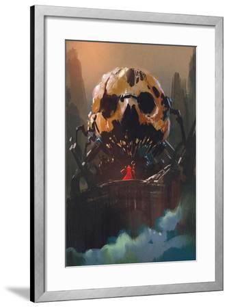 Illustration Painting of Villain Standing in Front of Skull Building-Tithi Luadthong-Framed Art Print