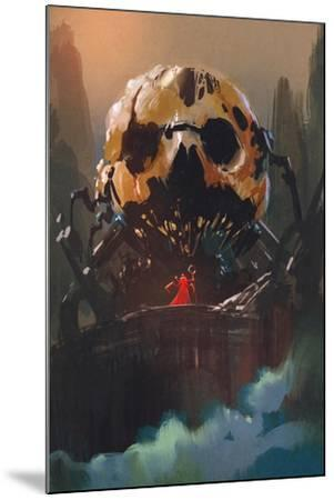 Illustration Painting of Villain Standing in Front of Skull Building-Tithi Luadthong-Mounted Art Print