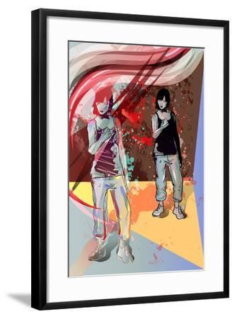 Girl Power, Abstract Grunge Background-Irmak Akcadogan-Framed Art Print