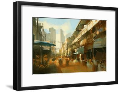 Painting of Colorful Street Market,Illustration-Tithi Luadthong-Framed Art Print
