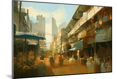 Painting of Colorful Street Market,Illustration-Tithi Luadthong-Mounted Art Print