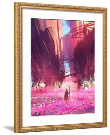 Traveler Standing in Pink Flowers Field,Digital Painting,Illustration-Tithi Luadthong-Framed Art Print