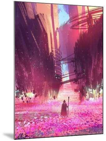 Traveler Standing in Pink Flowers Field,Digital Painting,Illustration-Tithi Luadthong-Mounted Art Print