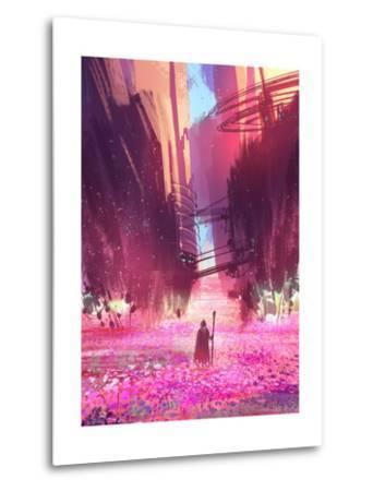 Traveler Standing in Pink Flowers Field,Digital Painting,Illustration-Tithi Luadthong-Metal Print