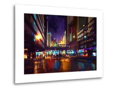 Crowds of People at a Busy Crossing in the Night with Neon Lights,Digital Painting-Tithi Luadthong-Metal Print