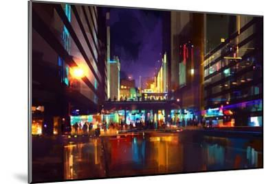 Crowds of People at a Busy Crossing in the Night with Neon Lights,Digital Painting-Tithi Luadthong-Mounted Art Print
