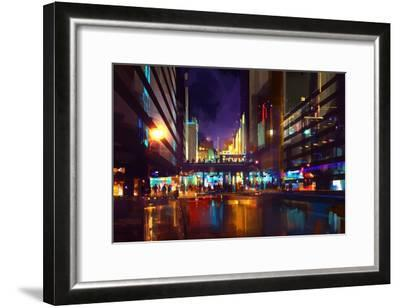 Crowds of People at a Busy Crossing in the Night with Neon Lights,Digital Painting-Tithi Luadthong-Framed Art Print