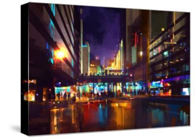 Crowds of People at a Busy Crossing in the Night with Neon Lights,Digital Painting-Tithi Luadthong-Stretched Canvas Print