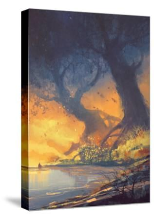 Fantasy Landscape Painting of Big Trees with Huge Roots at Sunset Beach-Tithi Luadthong-Stretched Canvas Print