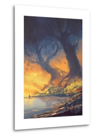 Fantasy Landscape Painting of Big Trees with Huge Roots at Sunset Beach-Tithi Luadthong-Metal Print