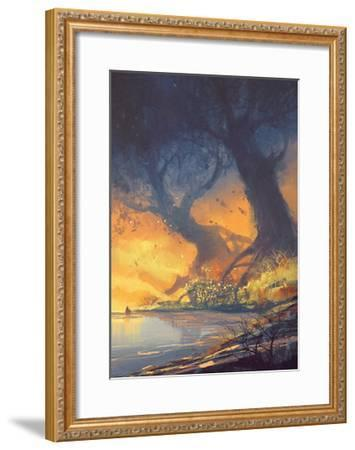 Fantasy Landscape Painting of Big Trees with Huge Roots at Sunset Beach-Tithi Luadthong-Framed Art Print