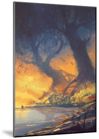 Fantasy Landscape Painting of Big Trees with Huge Roots at Sunset Beach-Tithi Luadthong-Mounted Art Print