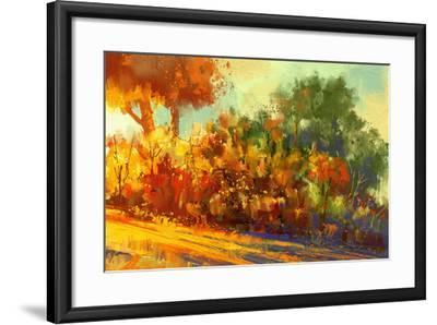 Landscape Painting of Beautiful Autumn Forest with Sunlight-Tithi Luadthong-Framed Art Print