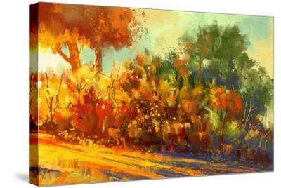 Landscape Painting of Beautiful Autumn Forest with Sunlight-Tithi Luadthong-Stretched Canvas Print